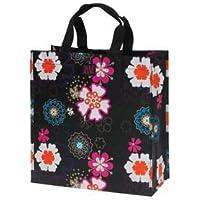 Joann Marrie Designs P2SBBFP Polypropylene Shopping Bag - Black Flower Power