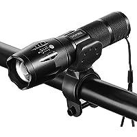 HOMIEE 懐中電灯 LED 自転車ライト 小型 強力 高輝度 5モード ズーム式 防水 防災対策