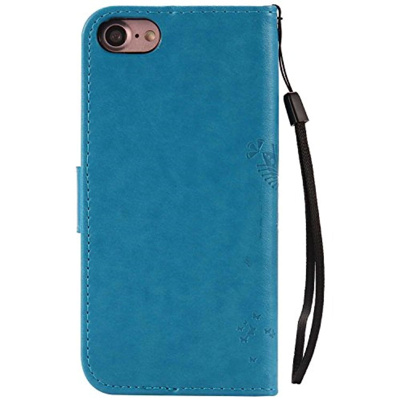 iPhone 8 ケース iPhone 7 ケース Conber PUレザー 手帳型 軽量 超薄型 耐衝撃 財布型 カバー Apple iPhone 8/7 用 スタンド機能 カード収納 全面保護 猫と木 ケース - ブルー