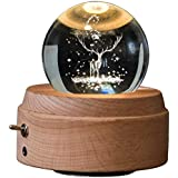 SNOWINSPRING 3D Crystal Ball Music Box The Deer Luminous Rotating Musical Box with Projection Led Light