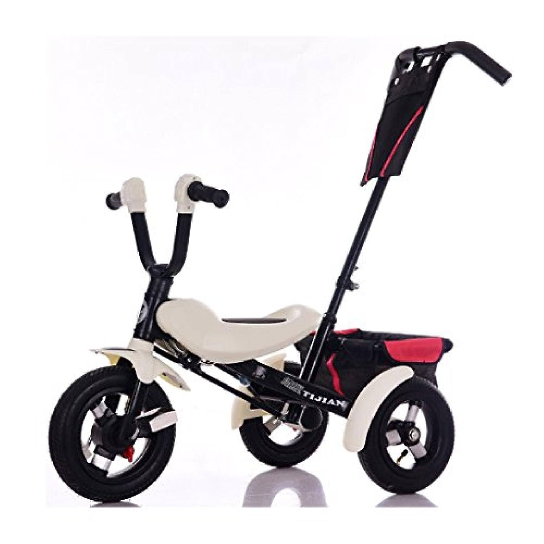子供の三輪車ミニ折りたたみ自転車シンプルな屋内と屋外1-5歳のカーボンスチールブラックバイク