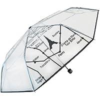 KUKUYA(ククヤ) 三段折りたたみ傘 透明な傘 ビニール 梅雨対策 手動開閉 8本骨 大きい 耐風撥水 おしゃれ メンズ レディース (ブラック)