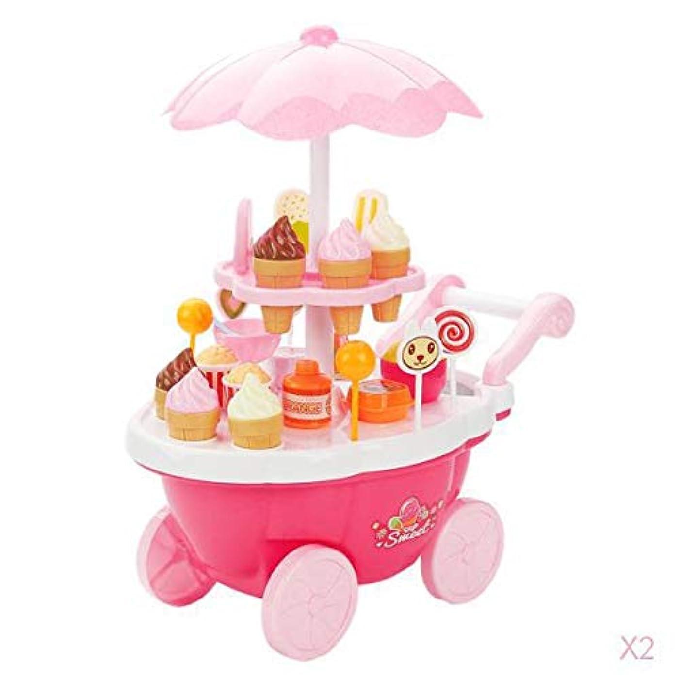 取り戻す忙しいコミット39ピースアイスクリームとお菓子カートは子供がおもちゃの食品プレイを再生するふり子供のおもちゃ