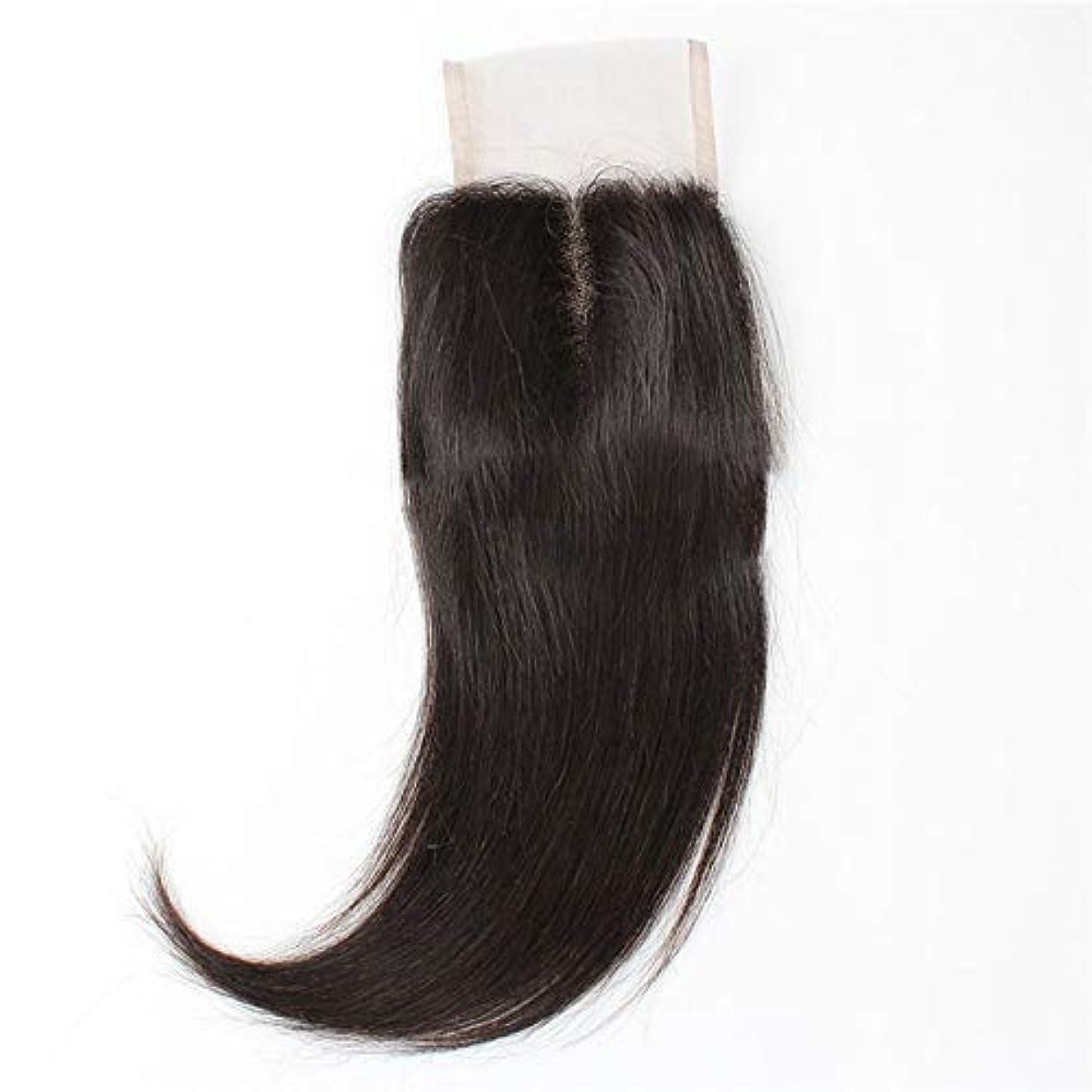 限界懐運命WASAIO ブラジルの髪の総レースの正面閉鎖原油人間シルキーストレート拡張バンドル中部ナチュラルブラック (色 : 黒, サイズ : 10 inch)