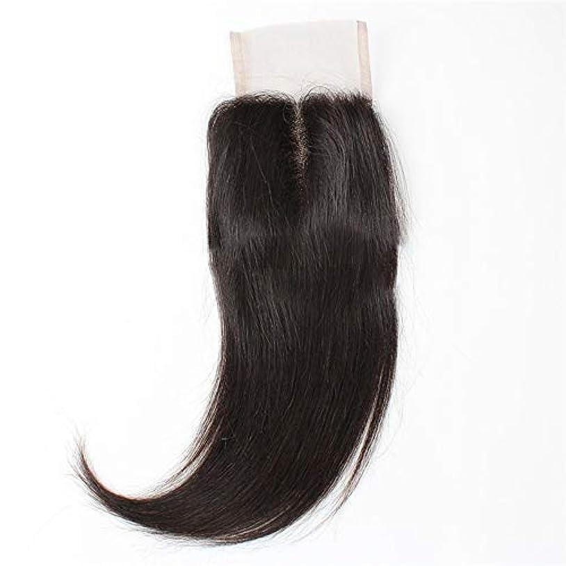 ホイールで揮発性WASAIO ブラジルの髪の総レースの正面閉鎖原油人間シルキーストレート拡張バンドル中部ナチュラルブラック (色 : 黒, サイズ : 10 inch)