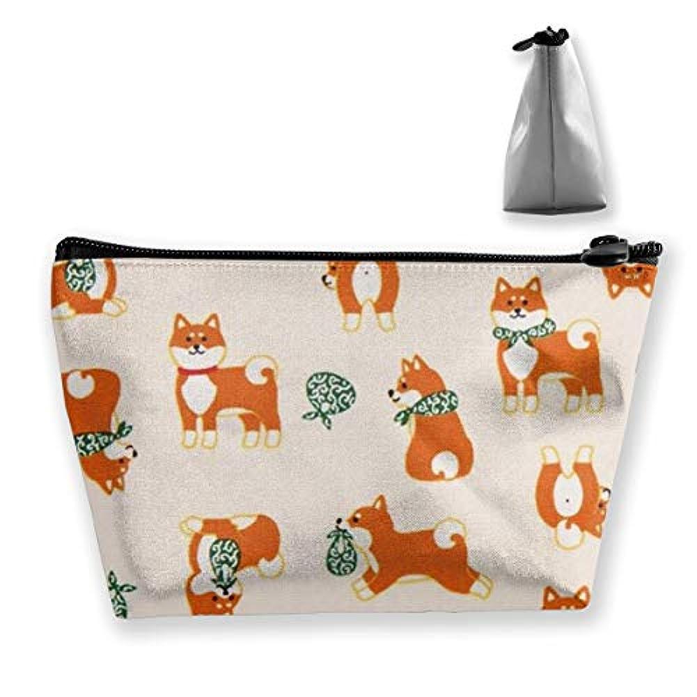 旋回面白い狐かわいい柴犬 化粧ポーチ メイクポーチ ミニ 財布 機能的 大容量 ポータブル 収納 小物入れ 普段使い 出張 旅行 ビーチサイド旅行