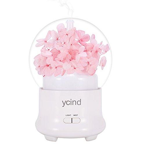 アロマディフューザー Ycind 超音波式 卓上加湿器 かわいい ムードランプ 七色変換LED 夜間照明可能 部屋 会社 ヨガなど各場所用 空焚き防止 時間設定 持ちやすい ピンク 日本語取扱説明書付き