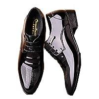 [HSFEO] 男性靴 ローファー フェイクレザー エナメル ポインテッドトゥ ローヒール 金属飾り 無地 カービング 模様入り 外羽根 通勤 ウェディング ファッションイン ラグジュアリー ヴィンテージ 滑り止め