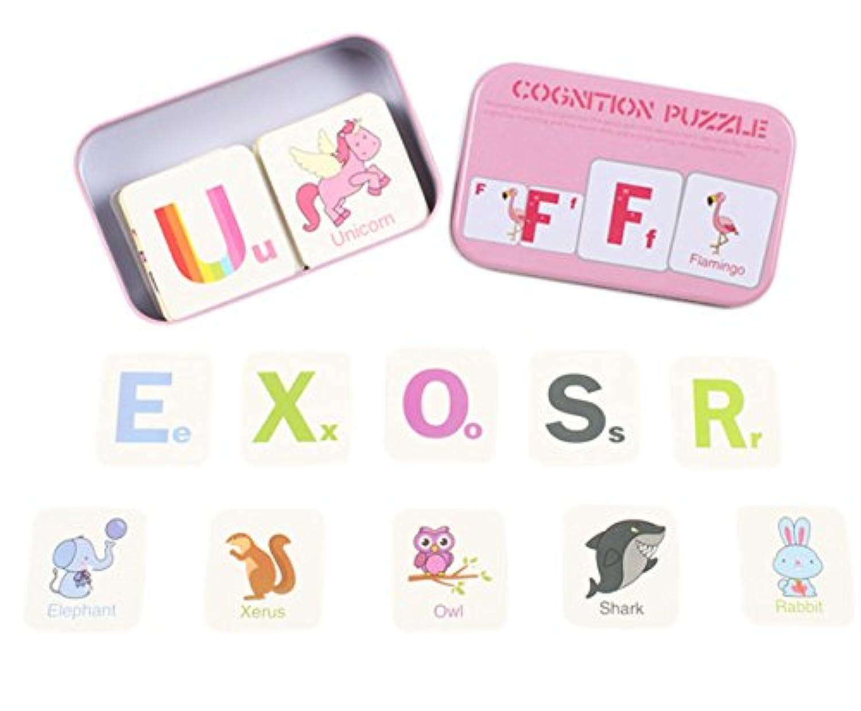 cc-us anti-tearフラッシュカードアルファベット学習ジグソーパズル認識機能カード、Early Developmental Toys with Mentalケース one size CCwj-171042R-03
