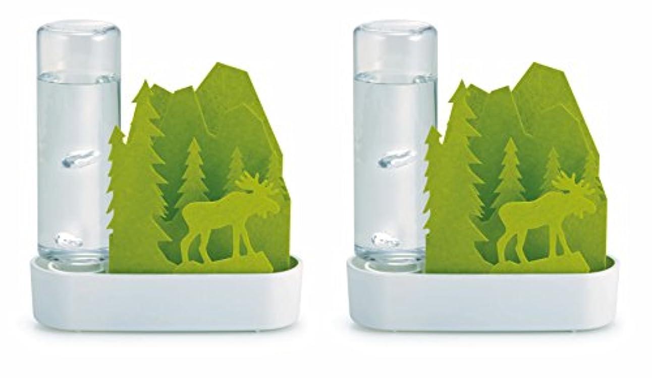 識字静かな冷淡な積水樹脂 自然気化式ECO加湿器 うるおいちいさな森 エルクGR グリーン お徳用2個セット