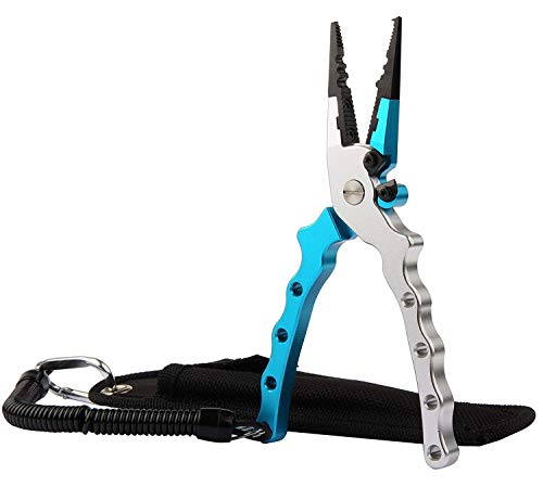 フィッシングプライヤー 釣り用ペンチ 超軽量  多機能  安全ロープ/ 専用ケース付き  持ち運びに便利  アルミニウム合金 ブル— 99g 17cm