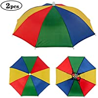 Minelife 2 Pack Rainbow Umbrella Hat Fishing Umbrella Hat, Foldable Colorful Umbrella Headwear, Sun-rain Umbrella Hat for Beach, Gardening, Travel, Hunting & Fishing