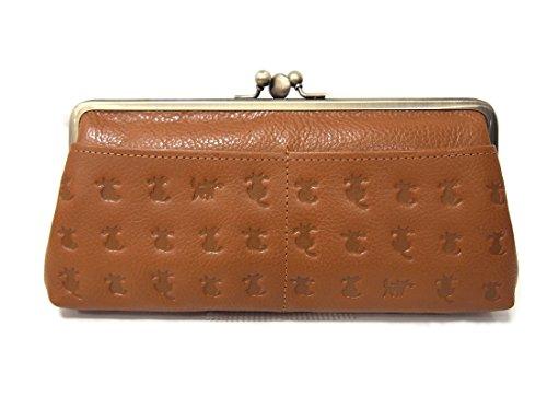 日本製 本革 ネコ型押し レディース 長財布 がま口 ベージュ・キャメル・ブラック  (ブラウン)