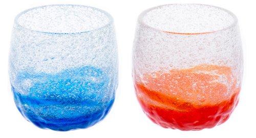 泡でこたるグラス2個セット(青/水・オレンジ)