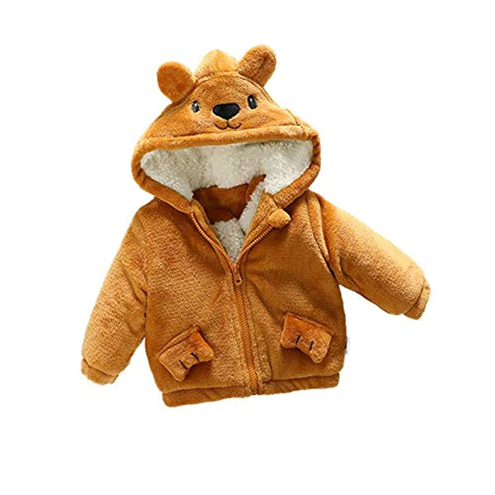 シーズン全体にタブレットベビーコート ボーイズコットンジャケット女の子の赤ちゃんの冬服コットン子供の厚い綿のコートの赤ん坊の冬 (Color : Brown, Size : 100cm)