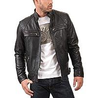 LEATHER IMAGE New Men's Lambskin Leather Jacket Biker Motorcycle Slim Fit Belt Jacket