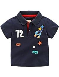 Tortor 1bacha(JP) キッズ シャツ 男の子 半袖 襟付き ポロシャツ 子供 ボーイズ ロケット柄 Tシャツ 男児 子供シャツ 綿 春夏 トップス 通園 通学 夏もの カジュアル