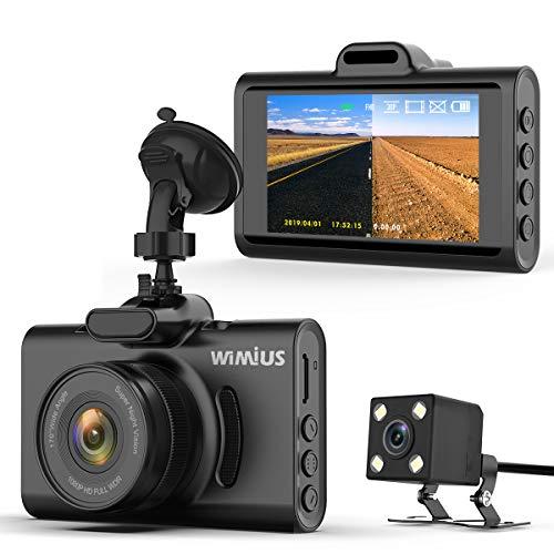 WIMIUS ドライブレコーダー 前後カメラ 車載ドラレコ 1080PフルHD 200万画素 エンジン連動 暗視機能 WDR 170°の超広角 常時/自動上書き/衝撃/駐車/マニュアル録画 SDカード検知機能 コンパクト 9×1.5×5.2㎜ 日本語取扱説明書 番号:D20