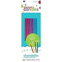 Amscan (Amsdd) Thin Novelty Glitter Birthday Candles (Piece), Pink/Purple/Blue, 648 [並行輸入品]
