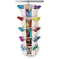 Carousel靴オーガナイザー5-tier Collapsibleクローゼット吊り下げシェルフストレージwith 360 °回転フック 40 Pockets ベージュ