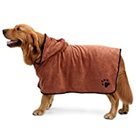 AWHAO 犬 バスローブ 即着用 高吸水 バスローブ シャンプー お風呂 お手入れ グルーミング 乾燥 タオルドライ シャワー 水遊び アウトドア レジャー ブラウン S