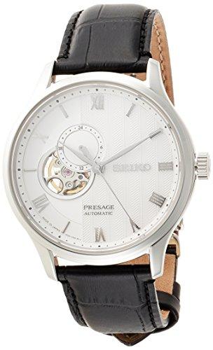 [プレザージュ]PRESAGE 腕時計PRESAGE 型打ち白文字盤 セミスケルトン デュアルカーブサファイアガラス ブラック革バンド SARY095 メンズ