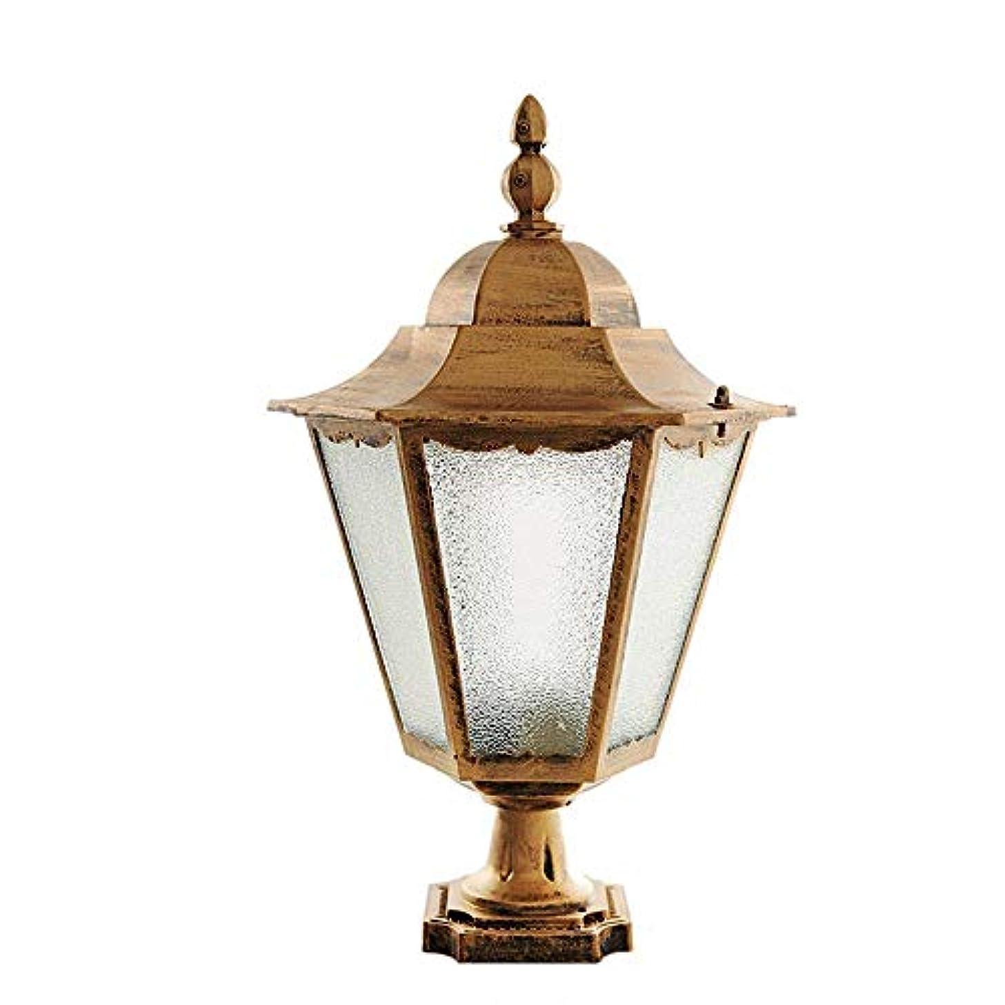 ケニアヒロイック芽Pinjeer E27屋外ガーデンガラスランタンヴィンテージip42防水防錆柱ライトダイキャストアルミ外照明ポストライトドア中庭ヴィラ風景装飾コラムランプ (Color : Brass, サイズ : L)