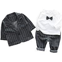Cloudkids ベビー キッズ フォーマル スーツ 長袖 シャツ ジャケット ズボン 3点セット 子供服 赤ちゃん 男の子 洋服 紳士服 結婚式 入園式 グレー ストライプ 90cm