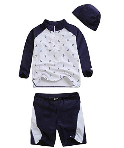 (コンフォルトクローゼット)CONFORT CLOSET 男の子 水着 ラッシュガード 長袖 シンプル ネイビー 紺 マリン 柄 帽子 付き 3点セット UVカット 大きいサイズ a-006-52-4