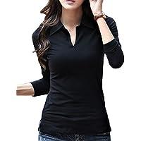 [サコイユ] カットソー Tシャツ 長袖 襟付き トップス シャツ Vネック 薄手 レディース