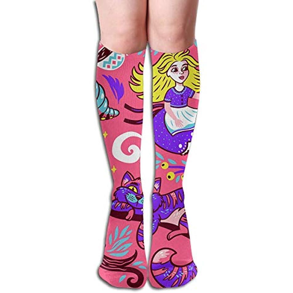 タンク言い聞かせる知覚できるキュリーかわいい漫画アリスのおとぎ話チューブストッキングレディース冬暖かい暖かいハイソックスブーツ靴下