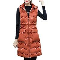 Women Winter Puffer Jacket Vest Thick Warm Padded Down Hoodie Coat