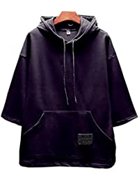 [Make 2 Be]メンズ 5分袖 フード付き ドロップショルダー カジュアル シャツ プルオーバー パーカー MF80