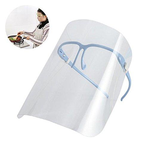 Six-Bullotime 防煙マスク 油はねガードマスク 透明マスク オイルガード めがね 防護マスク フェイスマスク メガネ式 眼鏡の上から掛けられる 唐揚げ防止 肌を守る ホコリ対策 DIY 顔を保護 繰り返し使える アイデアグッズ 調理器具 便利グッズ クッキンググッズ 全3種 ブルー