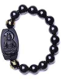 100 % Pure Natural Obsidian Immovable Bodhisattva Buddhaブレスレットブレスレット
