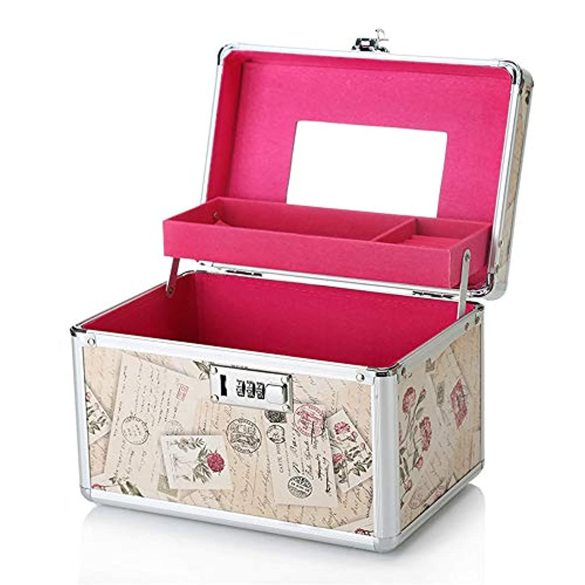 きつく縞模様の赤化粧オーガナイザーバッグ 化粧箱バニティロック可能な美容メイクアップネイルジュエリーポータブルケース収納ボックス 化粧品ケース