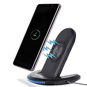 Qiワイヤレス充電器 Wrcibo ワイヤレスチャージャー 2つのコイル 無線充電パット 折り畳み式 スマホ 充電 スタンド Galaxy S8、S8 Plus、iphone 8などQi対応機種