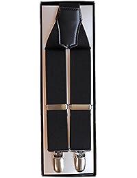 (ノムラ) NOMURA ダブルワン サスペンダー R 無地 ブラック 3cm幅 男女兼用 日本製
