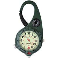 Mini Clip Watch – Compact Analog Display Green Carabiner Watch with Compass & Ultra Bright LED Microlight Doctors Nurses Paramedics Chefs