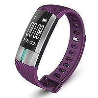 ECG/心拍数スマートブレスレット、Bluetooth IP67防水歩数計、温度監視、モーショントラッカー purple