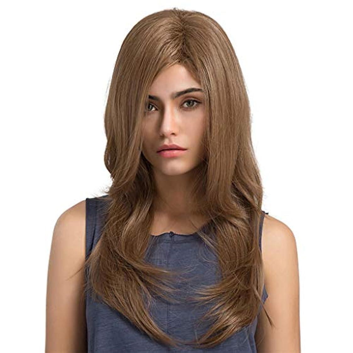 知覚側粘着性女性の長い巻き毛のかつら パーティーかつら65 cm