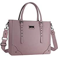 MOSISO Laptop Bag for Women Laptop Tote Bag Multi-Pocket Briefcase for Women, Premium PU Leather Business Work Travel Shoulder Sturdy Handbag with Adjustable Strap and Rivets Purple Purple 15.6 Inch