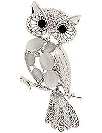 KOZEEY白 フクロウ クリスタル ラインストーン 襟のブローチピン クリスマス 結婚式 宝石類のギフト