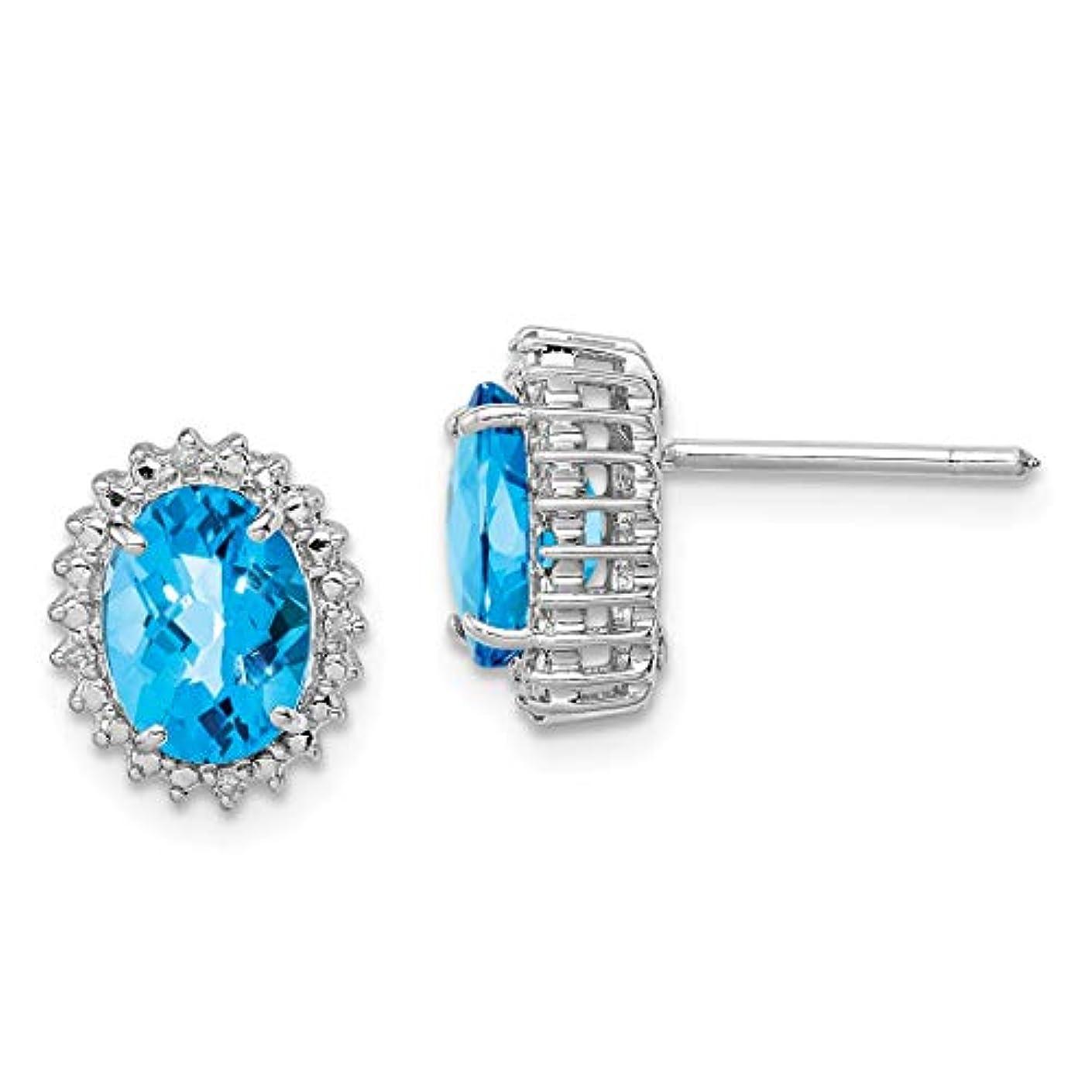 流出欠如取り付けICE CARATS 925 スターリングシルバー ブルートパーズ ダイヤモンド ポスト スタッド ボールボタン ピアス ファインジュエリー 女性へのギフトに最適