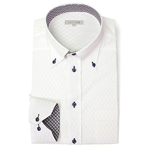 DRESS CODE 101 【スリム】 ボタンダウン ドレスシャツ 襟高デザイン 長袖ワイシャツ 白 メンズ 長袖 ワイシャツ Yシャツ SHIRT-4008-M