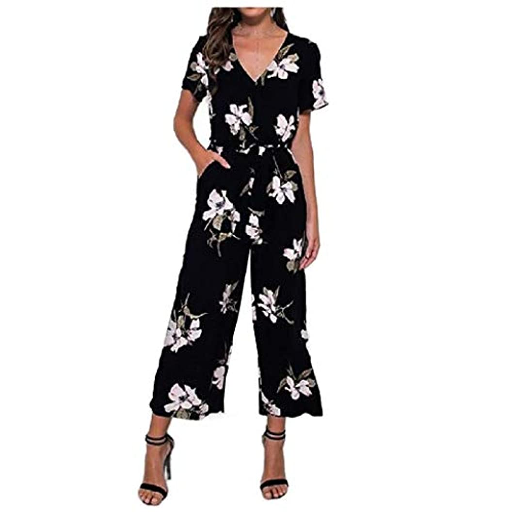 後基準ワックスAngelSpace Women V Neck Short Sleeve Floral Printing Belted Loose Long Pant Playsuit