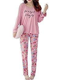 [ネユーズ] レディース さらさら しっとり 長袖 パジャマ ルーム ウェア 上下 セット 部屋 着 心地 よい