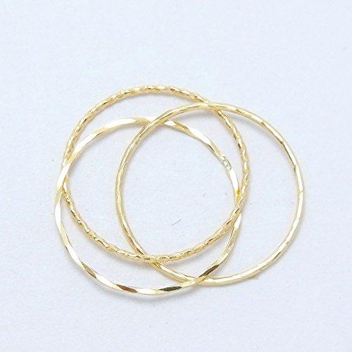 18金製 K18 gold ゴールド (日本製 Made in Japan) (金属アレルギー対応) 極細 リング 3連 7号