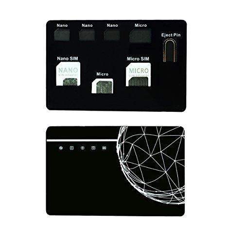 SIMカードアダプターセット&ナノSIMカードホルダーケース、Iphoneピン針付、SIMカード7枚収納ケース、ナノSIMカード用品質シムコンバーターセット - ブラック