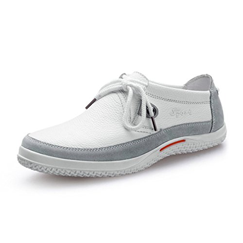 [QIFENGDIANZI]レースアップシューズ メンズ 靴 カジュアルシューズ ウォーキングシューズ コンフォート 屈曲性抜群 衝撃吸収 通勤 発表式  白 26.5cm